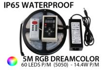 5M RGB Dream 5050 LED strip 30 LEDs p/m - IP65 - complete set